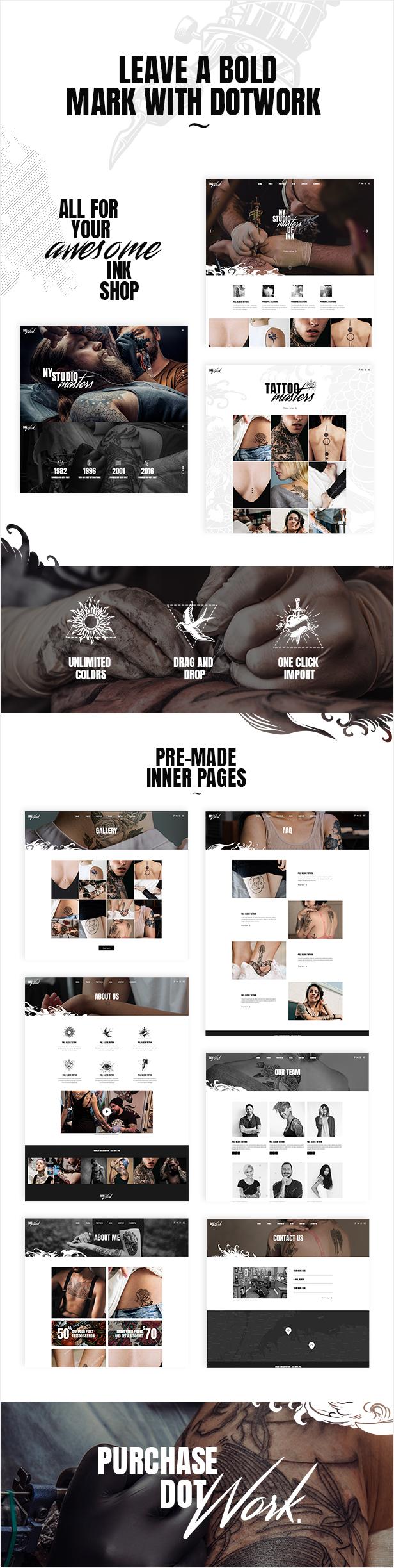 Dotwork - Tattoo Studio and Piercing Shop Theme - 1